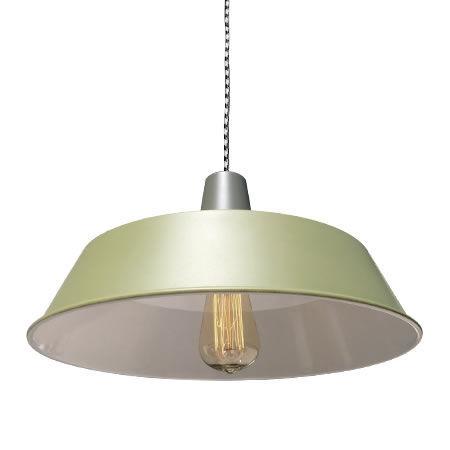 Lámpara Taller Verde Oliva Vista Oblicua