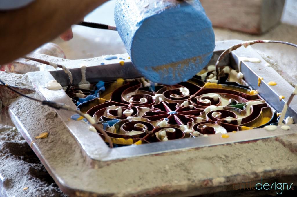 mosaico hidráulico pigmentación