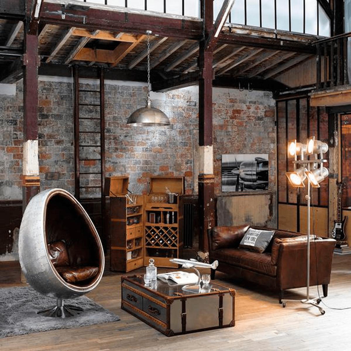 lámparas-estilo-industrial-sofás-marrones