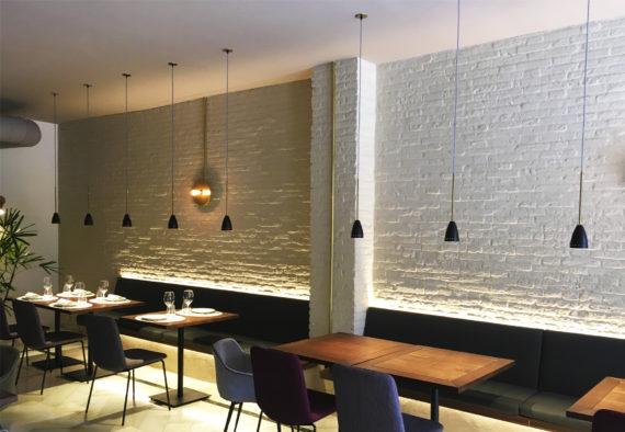 lámpara colgante Madrid tija restaurante