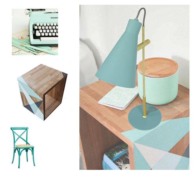 Nuevas lámparas turquesa mesa madera flexo arne