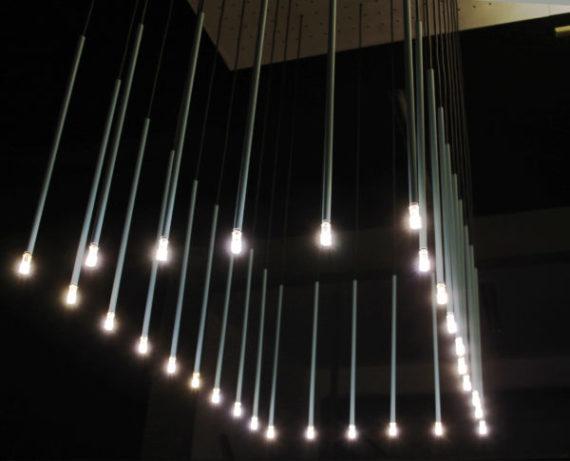 lámpara colgante Stick turquesa